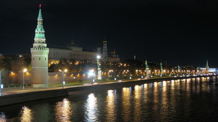 View of the Kremlin at night. Time lapse.