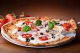 Fototapety pizza with ham - pizza al prosciuttto