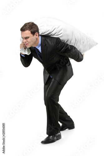 Full length portrait of a man carrying a money bag
