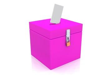 3D - Blanko Wahlurne Pink 01 - Abgeschlossen