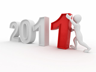 New Year. Men with numbers 2011