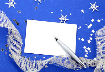 Christmas Decoration with empty Paper Card and Pen