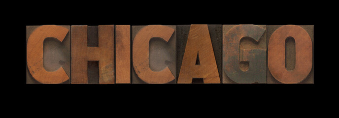 Chicago in old letterpress wood type