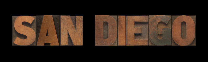 San Diego in old letterpress wood type