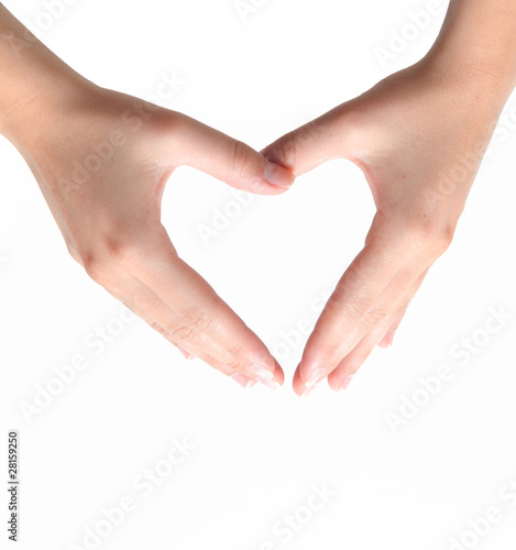 Female hand in the shape of a heart
