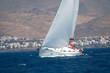 Turning sailing boat
