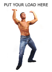 Macho musculature man with a copy space isolated