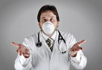 Worried doctor with a problem, virus h1n1