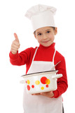 Little chief-cooker with thumbs up and pot, isolated on white poster