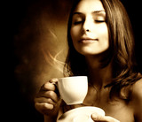 Fototapety Beautiful Woman With Coffee