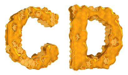 Honey font C and D letters isolated