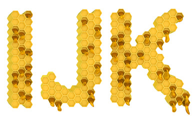 Honey font I J and K letters isolated