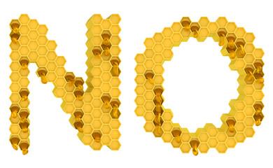 Honey font N and O letters isolated