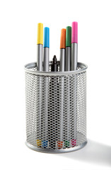 Felt-tip pens in a support of silver colour