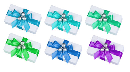 set of boxes with multi-colored bows