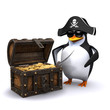 3d Penguin with his treasure chest full of gold