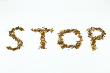 Written stop with tobacco