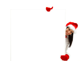 Female Santa with billboard