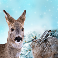 winter christmas card with wild animals