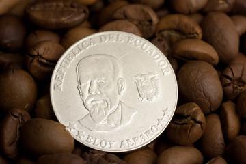 Coin of republic of Ecuador on coffee beans, 50 centavo