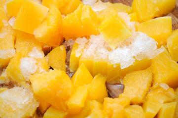 Chopped Frozen Pumpkin Closeup