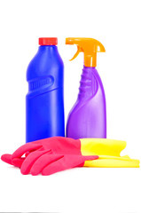 Two flacons of washing liquid and rubber gloves