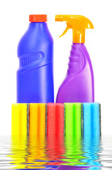 flasks with washing liquids and sponges