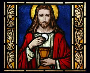 Jesus mit Becher und Hostie