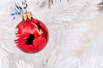 Red bauble on frozen Christmas Tree