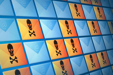 Wall of email, spam and virus electronic mail envelopes