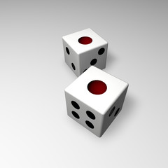 White backgammon dice 3d work