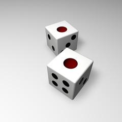 White backgammon dice 3d work
