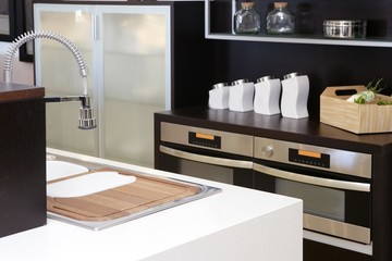 Brown wood kitchen modern stainless steel