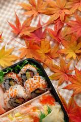 寿司弁当と紅葉したモミジ