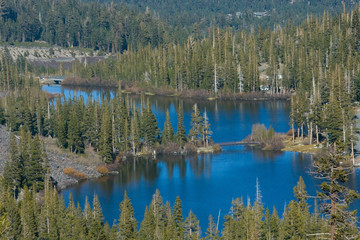 Scenic view of a Twin Lakes at Mammoth Lakes