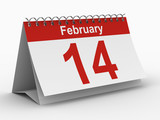 14 february calendar on white background. Isolated 3D image poster