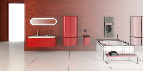 Bathroom Loft in Red (3d)