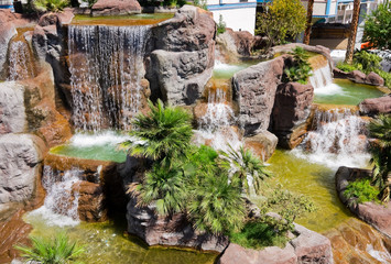 Man-made waterfall in Las Vegas