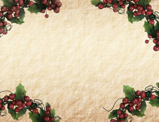 cherry framework of christmas decorations on paper.