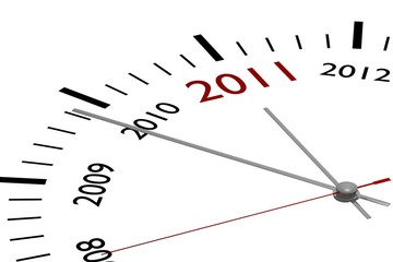 The new year 2011 in a clock