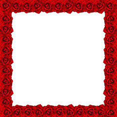 Frame from red roses with water drops