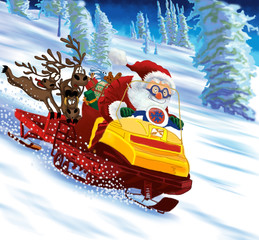 Santa Claus astride a snowmobile