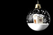 Glass ball Christmas with little house - 28198237