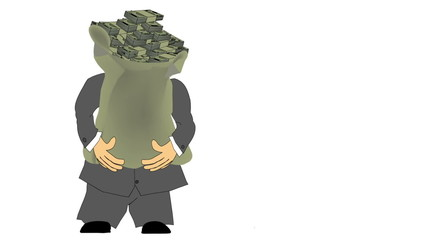 Suited Man Carrying Money Bag
