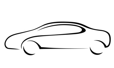 Car silhouette for emblem. Vector format.