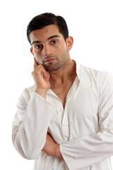 Pensive thinking man