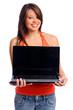 Laptop presentation woman