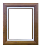 brown wood photo image frame isolated on white background