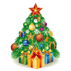 vector illustration christmas tree with gift box