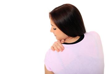Attraktives Mädchen leidet unter Verspannungen